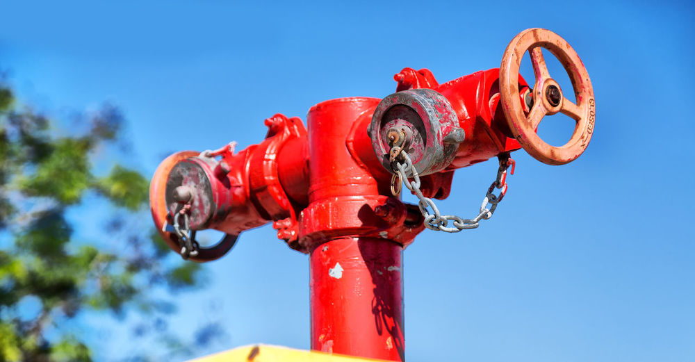Low angle view of fire hydrant against clear sky