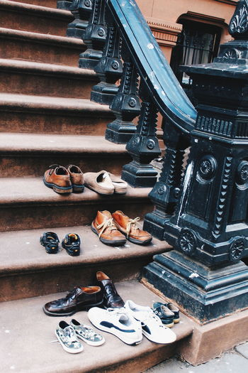 Shoes Abundance Arrangement Art And Craft NYC Photography Brooklyn Nyc Stairs_collection Choice Design Footwear Large Group Of Objects Lifestyles Low Section Men Ornate Shoe Variation Brooklyn NYC Stairs Shoes Stairways House Shoe Love Telling Stories Differently Up Close Street Photography Finding New Frontiers