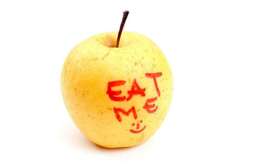 Apple Close-up Eat Me Food Freshness Fruit Healthy Eating No People Studio Shot White Background Yellow