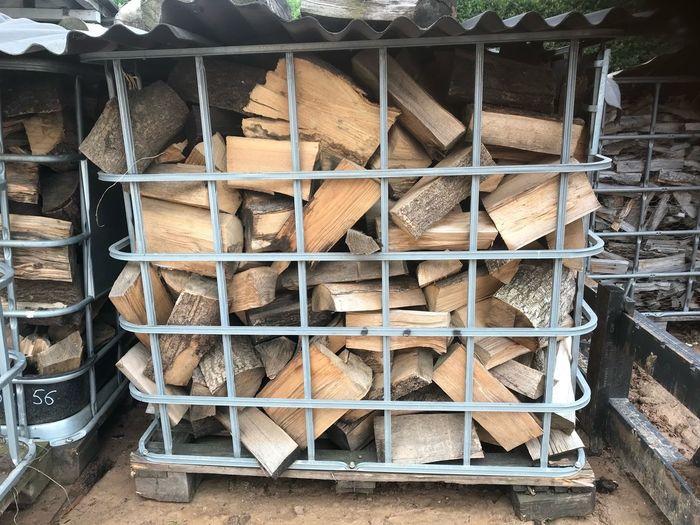 Stack of firewood at lumberyard