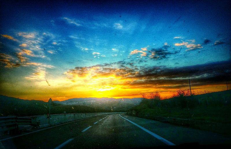 Street Tramonto Tramonti_italiani Autostrada Guidare Viaggiare Sunset