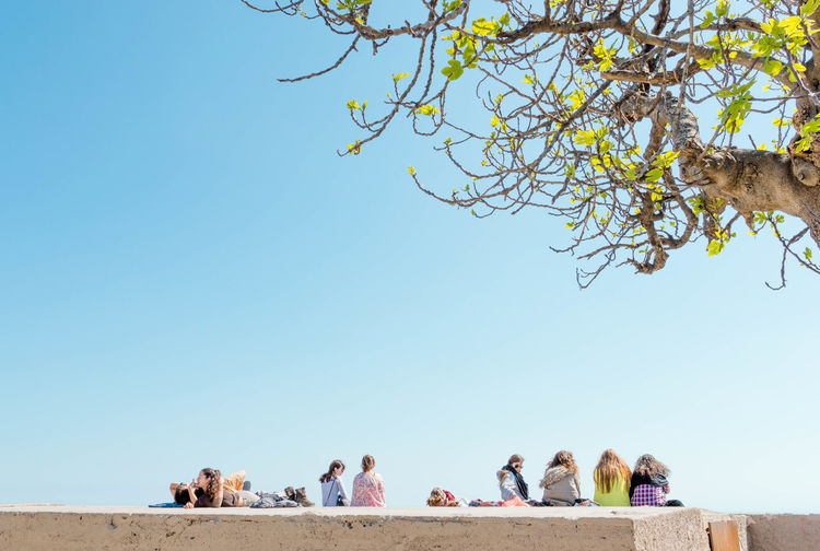 People Sitting On Concrete Wall Against Clear Blue Sky