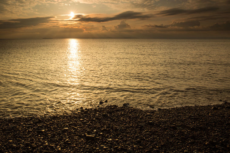 Sand Bay Somerset England Sunset_collection Beach Beauty In Nature Cloud - Sky Horizon Horizon Over Water Idyllic Land Nature No People Orange Color Outdoors Reflection Scenics - Nature Sea Sky Sun Sunlight Sunset Sunset Ocean Tranquil Scene Tranquility Water