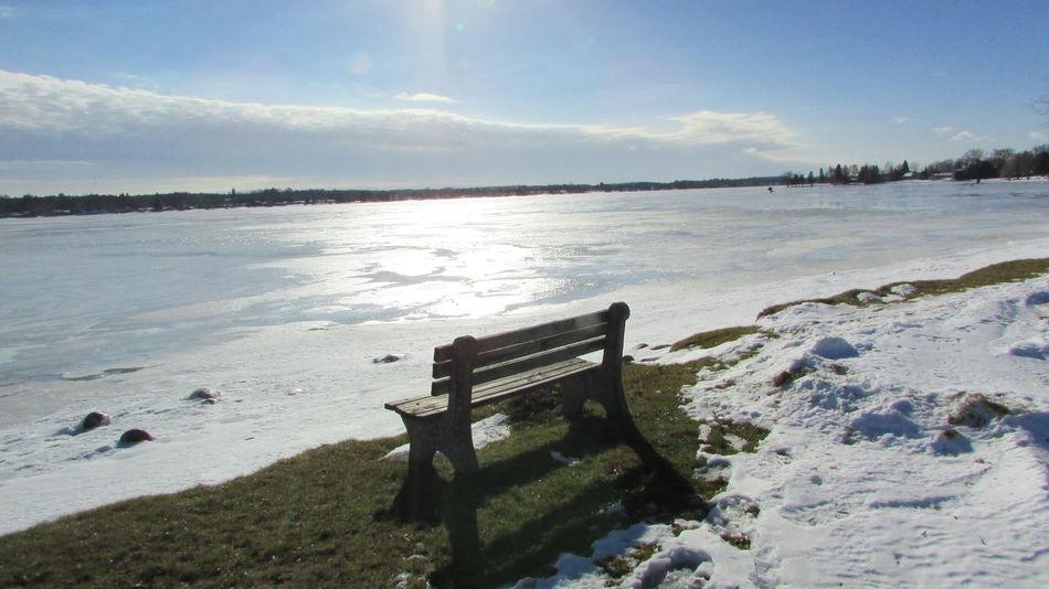 Taking Photos Around The Lake Lone Bench Frozen Lake, Sunny Blue Sky Lake Cadillac Pure Michigan