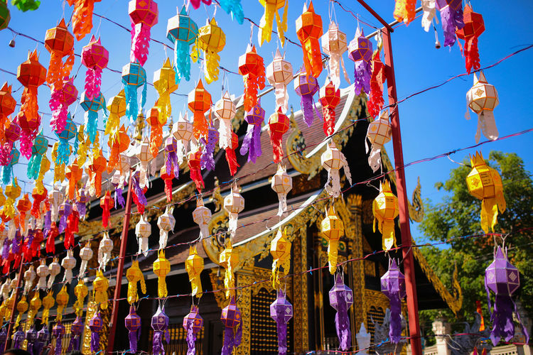Colorful paper lanterns in Yee Peng Festival , Chiang Mai (North of Thailand) Low Angle View Day No People Art And Craft Building Festival Outdoors Lanterns Thailand Holiday