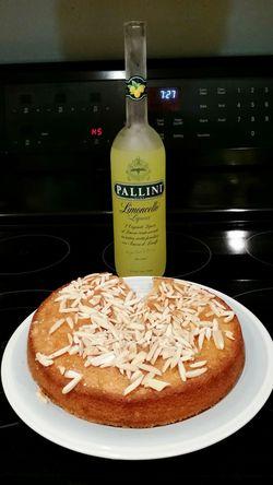 Limoncello Almond Torte, minus the chef's cut! Limoncello Limoncello Dessert Baking Day Food Stories