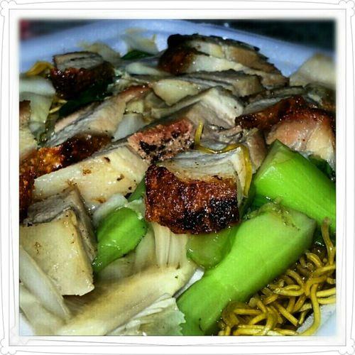 Roast Pork With Crispy Noodles And ChoySum