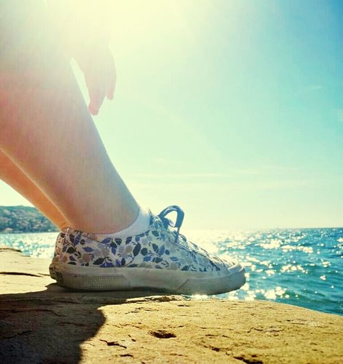 Out Of The Box Sea One Person Outdoors Day Horizon Over Water Sky Freedome  Shoes Sneakers Sneakersaddict Day Off Koper Slovenija Sunny Day Relax Relaxing Moments Photo Of The Day Summer Is Coming