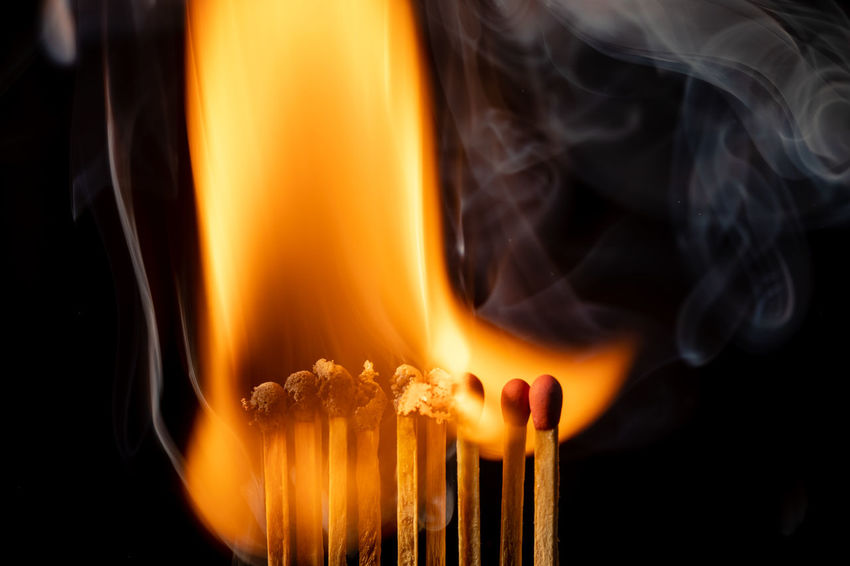 Fire From Match Black Background Burning Close-up Fire Fire - Natural Phenomenon Flame Heat - Temperature Indoors  Matchstick Matchsticks Nature Wood - Material