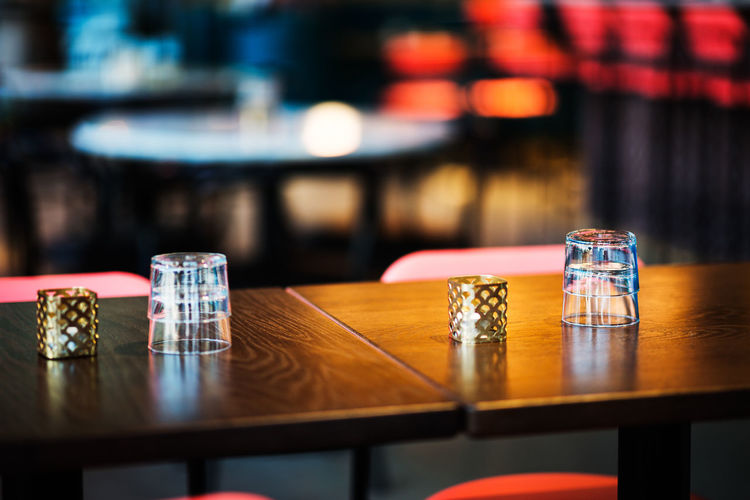 Close-up of glass on table at restaurant