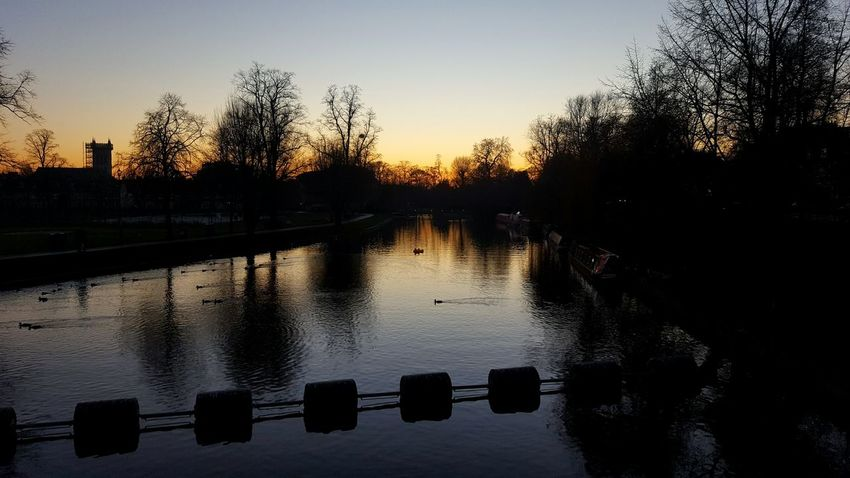 Sunset on River Cam Sunset Reflection Sky Silhouette Water Nature No People Outdoors Cambridge