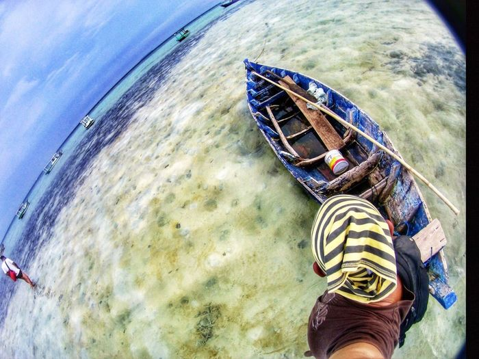Sail away Water Sea Shoe Low Section Nautical Vessel Adventure Real People Scenics Travel Destinations One Person Outdoors Fish-eye Lens Men Nature Beach Human Leg Beauty In Nature Day Sky One Man Only