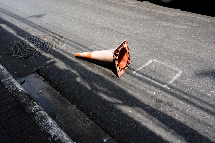 Falling Orange Orange Color Road Road Cone Shadow Traffic Cone