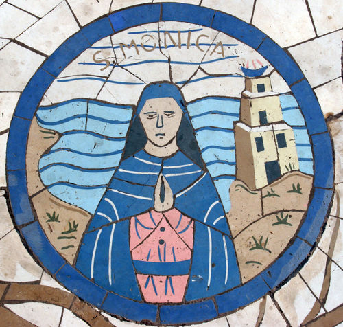 Saint Monica, Mosaic in front of the church on the Mount of Beatitudes Beatitudes Belief Biblical  Christianity Church Galilee Historical Holy Israel Jesus Middle East Monica Mosaic Mount Religion Religious  Saint Sermon Shrine Spiritual Stone