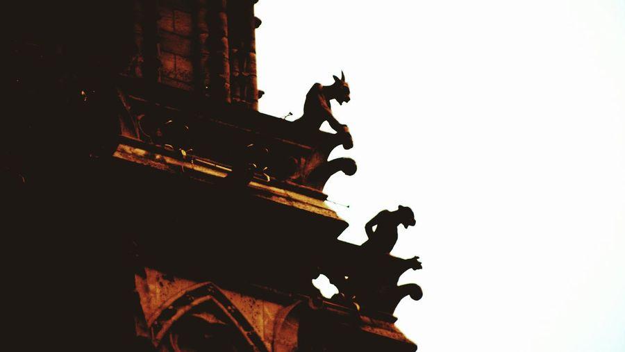 Paris Notre-Dame Notre Dame Cathedral Cathedral Gargoyle Sky France Tourism Religious Architecture Sculpture Monument