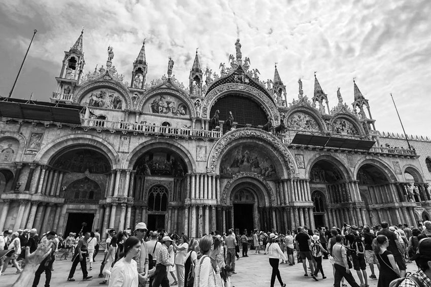 St Mark's Duomo Light And Shadow Black And White Monochrome Building Exterior Architecture Built Structure Crowd Large Group Of People Group Of People Real People Religion Spirituality Building Sky Place Of Worship Travel Destinations Tourism