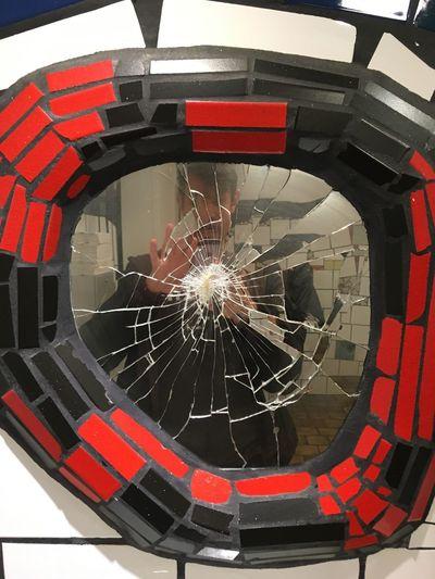 Das Klo im Hundertwasserhaus, Wien Broken Looking-glass Pattern Indoors  Shape No People Circle Transportation Close-up
