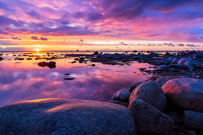 Pink sunset at Dirhami, Estonia Beach Beauty Beauty In Nature Close-up Cloud - Sky Clouds Dirhami Dramatic Sky Estonia Landscape Multi Colored Nature No People Outdoors Picoftheday Reflection Rock - Object Romantic Sky Scenics Sea Sky Sunset Tranquility Travel Water