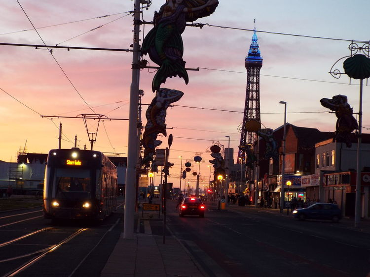 Late Evening Sky The Essence Of Summer Summer2016 Summertime Summer Tourist Attraction  Tourism Blue Lights On Blackpool Tower Blue Lights  Blackpool Seafront Blackpool Tower Late Evening Blackpool Tram Tram Cars On The Way