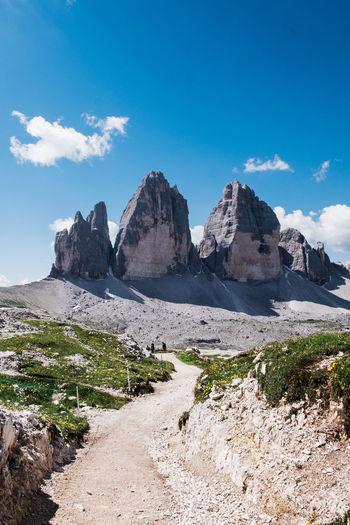 Scenic view towards the famous tre cie di lavaredo in dolomites