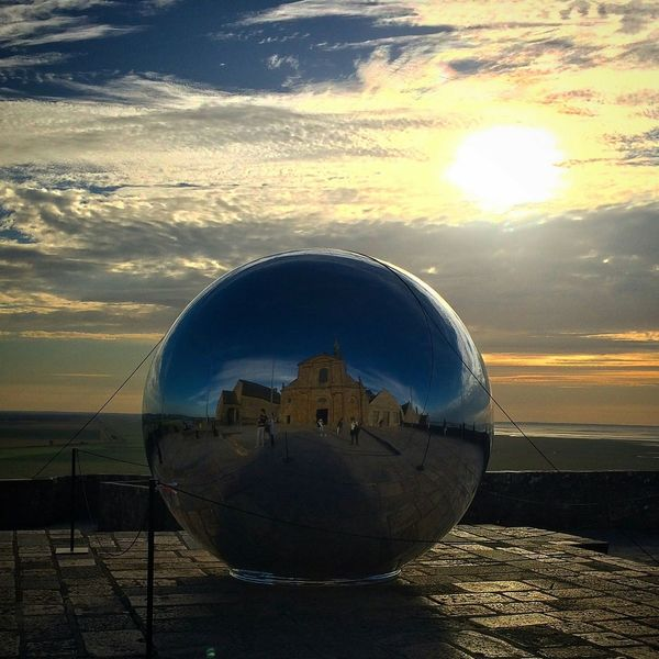 Sphere Sunset Reflection Sky Outdoors No People Beauty In Nature Sun Planet Earth