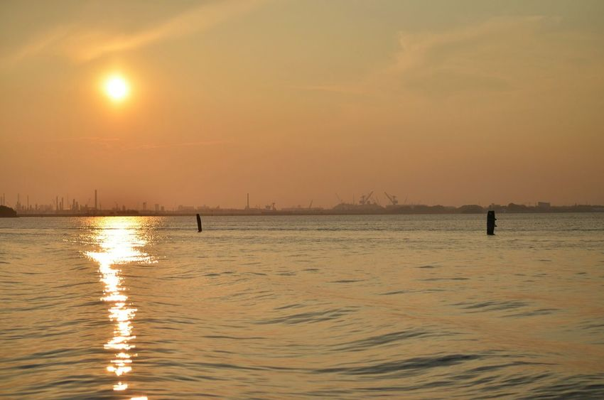 Water Sunset Sea Scenics Tranquility Tranquil Scene Reflection Orange Color Seascape Calm Non-urban Scene Landscape Tramonto Estate Venezia Venice