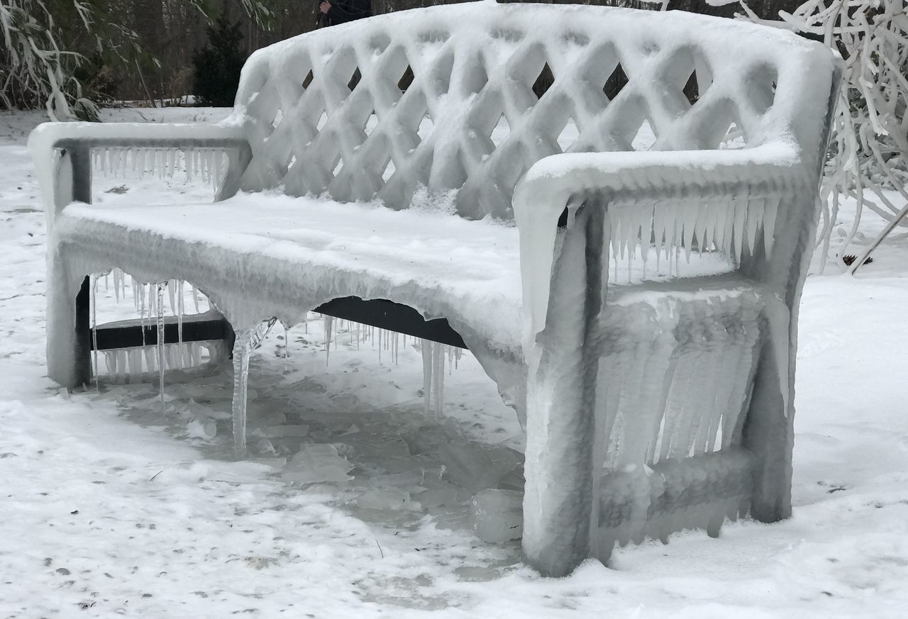 snow, winter, cold temperature, weather, chair, white color, outdoors, field, day, nature, no people, seat