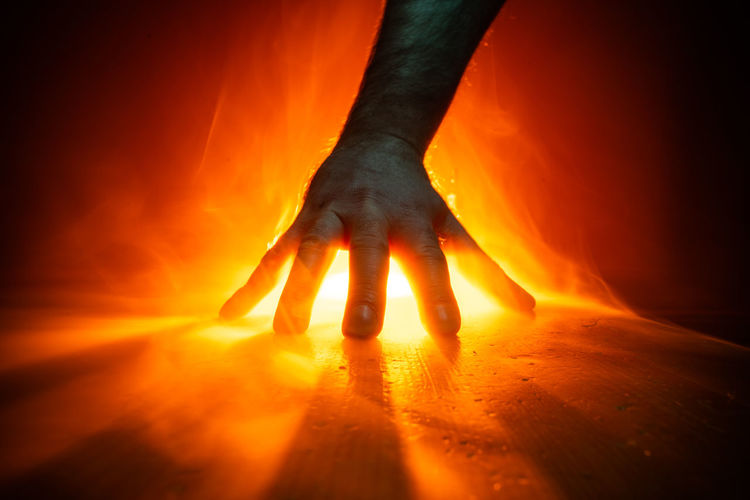Hand Looming Heat Power Powerful Light Painting Hands Back Light Backlit Close-up Silhouette Orange Color