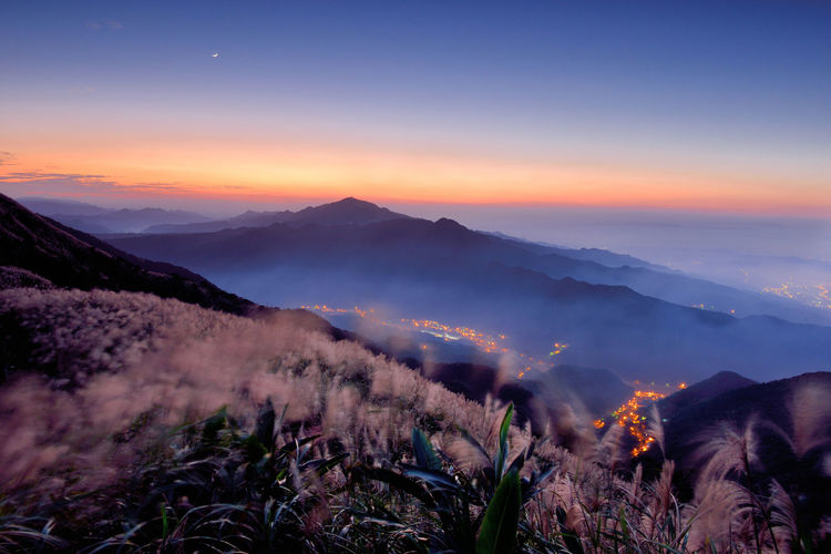 Autumn dusk mountains, open Mansou flowers, sunset sunshine Yao in the Maucao. Autumn Miscanthus Natural Scenery Beauty In Nature Clouds Day Dusk Fall Flower Growth Landscape Mist Mountain Mountain Flowers Mountain Range Nature No People Outdoors Peaceful Scenics Sky Sunset Tranquil Scene Tranquility Tree