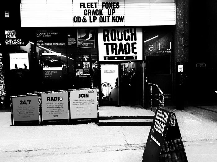 Text Day No People Outdoors Records London Streets Record Shop Rough Trade East LPs Black And White Photography