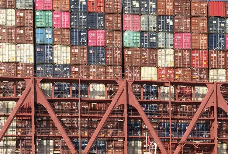 Cargo containers at harbor