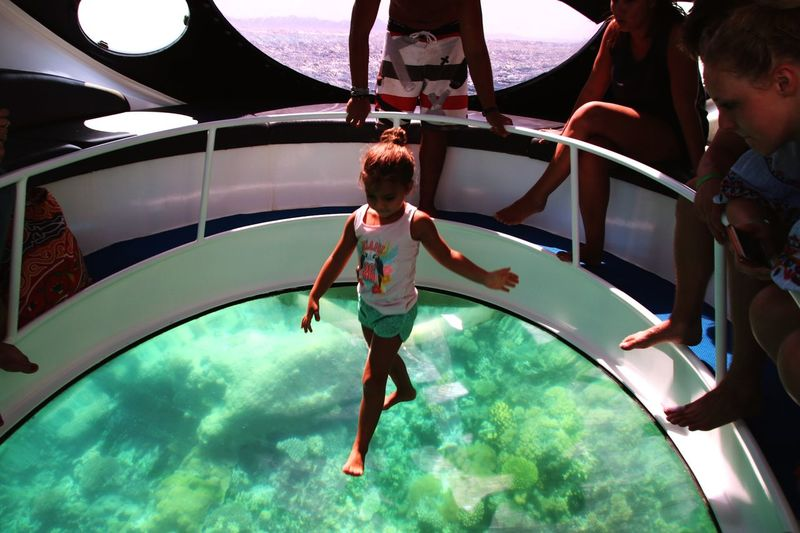 Walking on Water Egypt El Gouna Red Sea Glass Bottom Boat Coral Reef Childhood Full Length Swimming Pool Child Pool Water Lifestyles Real People Nature Enjoyment Leisure Activity
