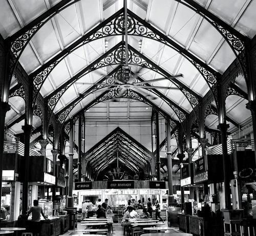"The interior of a food market that was first established in 1894. The name Lau Pa Sat literally translates to ""Old Market"". Architecture_bw Architecture Interior Design Nightphotography Night In The City Night Photography Dining Late Night Snack Black&white Black & White Black And White Old Buildings Old And New Blackandwhite Open Edit EyeEm Gallery EyeEm Best Shots First Eyeem Photo The Street Photographer - 2016 EyeEm Awards The Architect - 2016 EyeEm Awards"