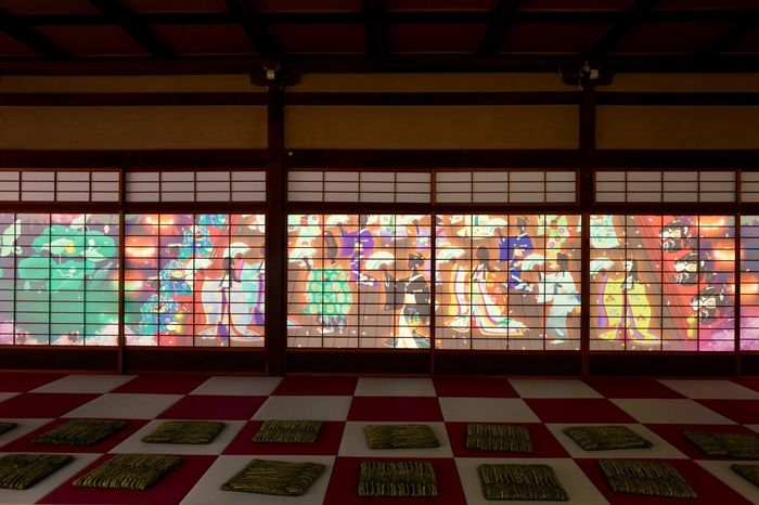 """Kyoto Pop : Shoji Japanesque Projection Mapping Personal Perspective 京都知新 """"京の四季・百花総覧"""" だるま商店×COSMIC LAB Multi Colored Indoors  Architecture Check Pattern A Frame Within A Frame at """"Meet the Kyoto Chishin"""" Springtime Miyako Odori Gion In Kyoto Kyoto, Japan 京都市  祇園 祇園甲部歌舞練場 内 八坂倶楽部"""
