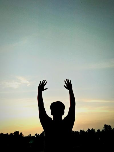 reach for the skies Sunset Men Silhouette Tree Human Hand Sky Go Higher