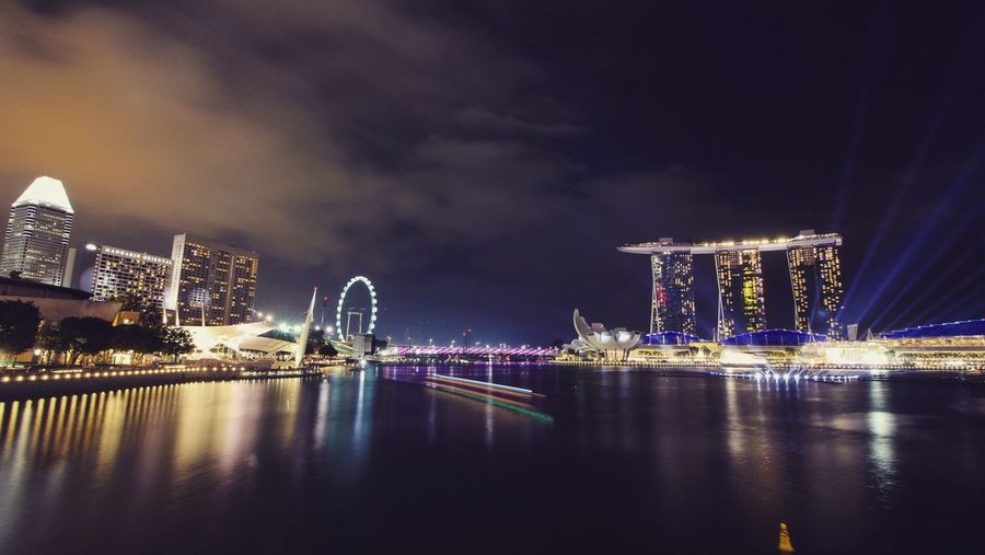 Scenic View Of Singapore Illuminated At Night