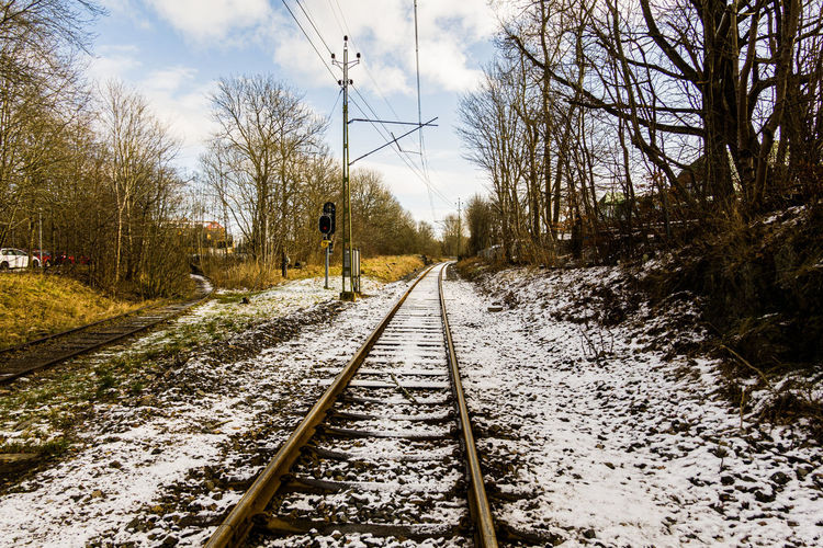 View of railroad tracks along bare trees in winter