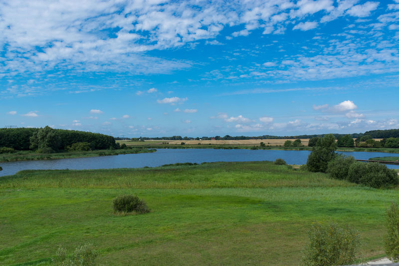 Panoramic view of the swimming, fishing and nature area Eixen lake. Shot from the lookout tower Sky Water Grass Tranquil Scene Scenics - Nature Tranquility Plant Lake Cloud - Sky Beauty In Nature Landscape Nature Environment Green Color Land Day No People Non-urban Scene Tree Outdoors