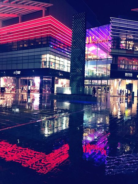 Westfield Westfield Stratford Mall Shopping Centre Shopping Rain Rain Reflection Reflection City Lights Colourful City London