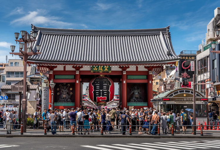 The Kaminarimon (Thunder Gate), the outer gate of Sensoji Temple in Tokyo, Asakusa district Japan Lantern Red Shrine Tokyo Architecture Buddhism Building Building Exterior Built Structure City Crowd Day Group Of People Large Group Of People Nature Outdoors Real People Religion Religion And Beliefs Shinto Sky Street Text Travel Destinations