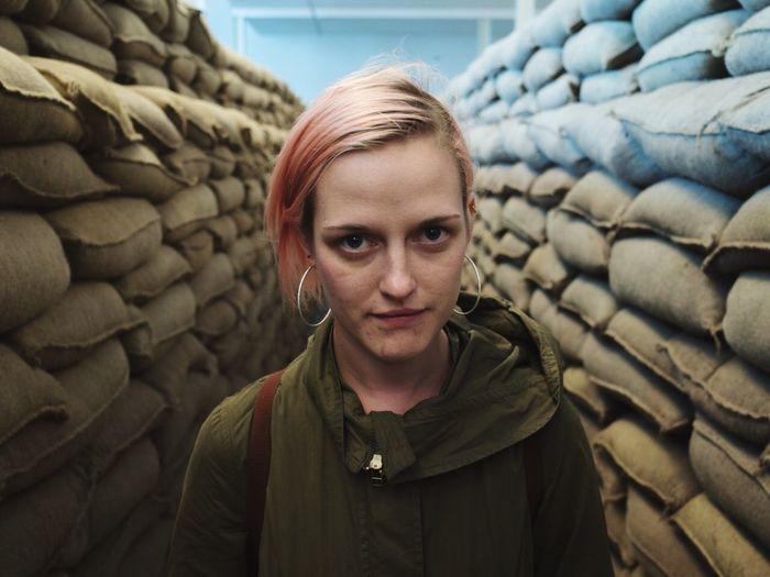 War Trench Sandbag Art Installation Girl