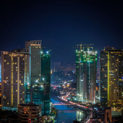 Nightscape of Makati City Buildings Architecture Business Longexposure Longexposurephotography Makati City Nightphotography Pasig River Philippines Traffic Lights Urban Skyline
