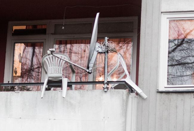 Balcony View Balcony Shot Balcony Balcony Party Balconyview Chairs Outisde Parabolic Antenna Plastic Chairs