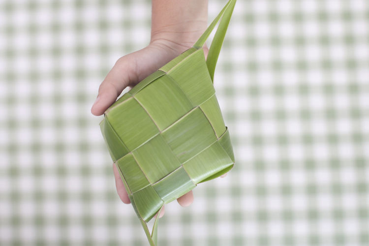 People Holding Ketupat Indonesia Childhood Close Up Close-up Coconut Leaf Day Eid Al Fitr Fasting Food Food And Drink Green Color Holding Human Body Part Human Hand INDONESIA Indoors  Islam Jakarta Ketupat Malay One Person People Real People Wrapped
