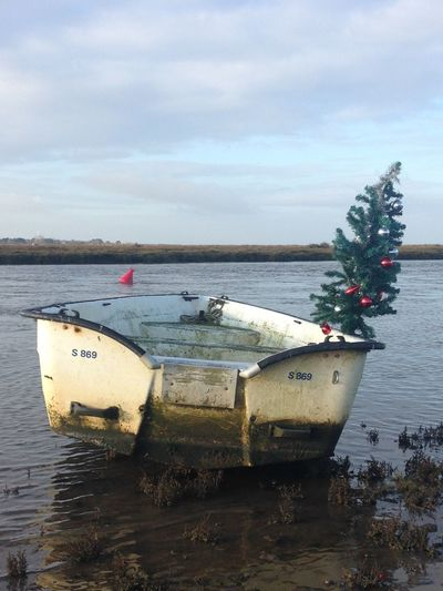 Sky Water Transportation Nautical Vessel Sea Sand Nature Mode Of Transport Beauty In Nature Outdoors Cloud - Sky Beach Scenics Horizon Over Water No People Day Coastal Christmas Boating Boats Christmas Tree Christmas