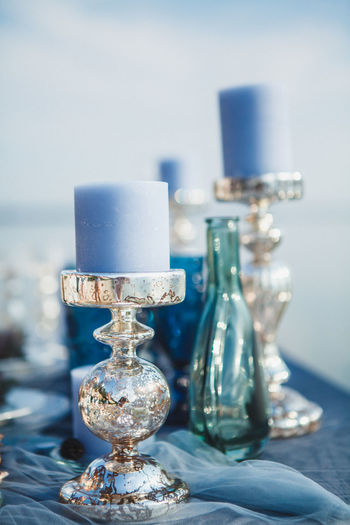 Candle Decor Wedding Close-up Day Decoration Focus On Foreground Indoors  No People Water Wedding Day