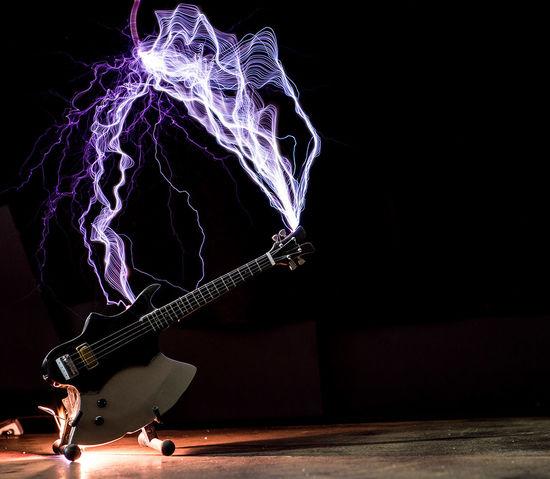 High Voltage!!! Electricity  Tesla Coil High Voltage Guitar
