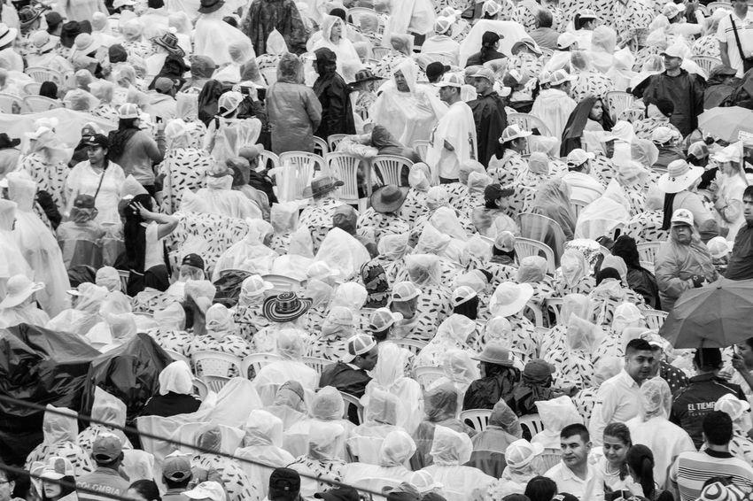 Colombia El Papa El Papa En Colombia PAPA FRANCESCO Papa Francisco Pope Raining Unity Villavicencio Villavicencio Meta Crowd Full Frame High Angle View Large Group Of People Men Pope Francis  Real People Togetherness Women
