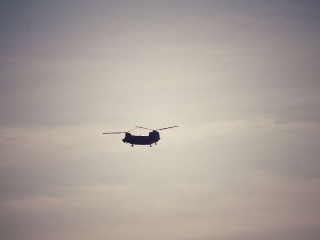 Wokka Sky Flying Airplane Silhouette Sunset Military Helicopter on the move
