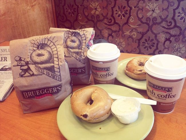 Hot our 3 each FREE bagels for later and 2 non-free ones for breakfast now at Brueggers. Free Bagels